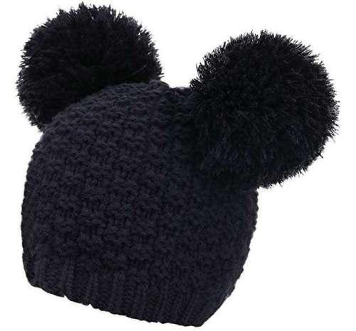 2d926ef02d339c Livingston Women's Winter Chunky Knit Beanie Hat w/Double Pompom Ears