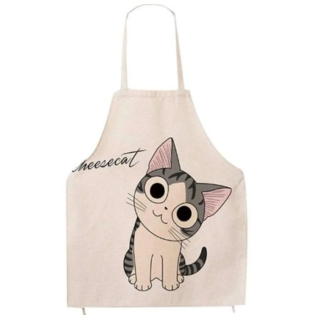 inexpensive gifts for cat lovers, Unisex Super Cute Cartoon Cat Print Pattern Apron
