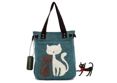 inexpensive gifts for cat lovers, Valentoria Cute Cat Design Multifunction Women's Canvas