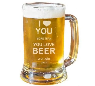 Personalized Beer Glass, valentines day gift for boyfriend