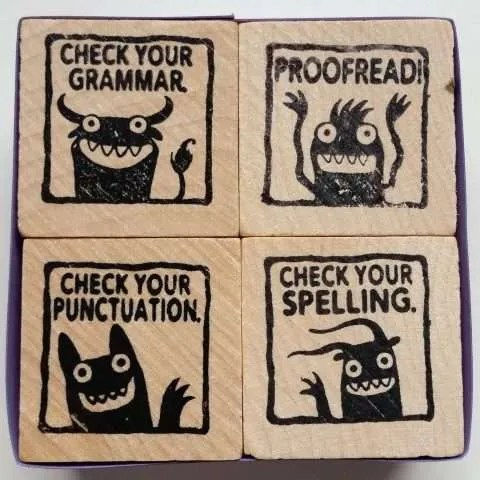 Grammar Police Rubber Stamps