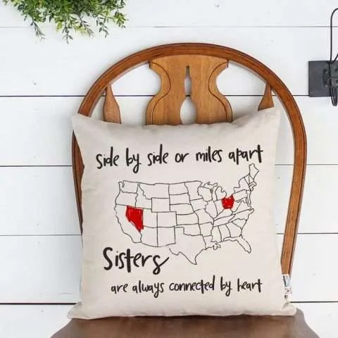 Side by Side or Miles Apart Throw Pillow