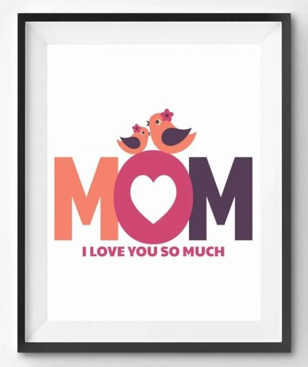 I Love Mom Mothers Day Printable