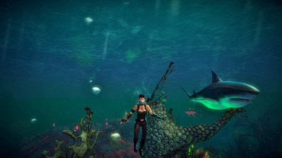 Freyja plumbs the depths with her pet shark Prawn