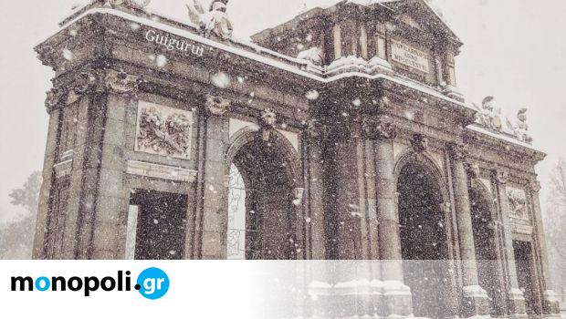 Μαδρίτη: Εντυπωσιακές φωτογραφίες από την πρωτοφανή χιονοθύελλα που «έντυσε» την πόλη στα λευκά - Monopoli.gr