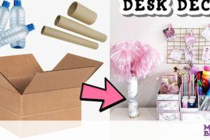 DIY θήκες για το παιδικό γραφείο με χαρτόκουτο και πλαστικά μπουκάλια