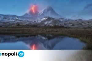 Ρωσία: Συγκλονιστική φωτογραφία από τη στιγμή που ένα αστέρι πέφτει κατά την έκρηξη ενός ηφαιστείου