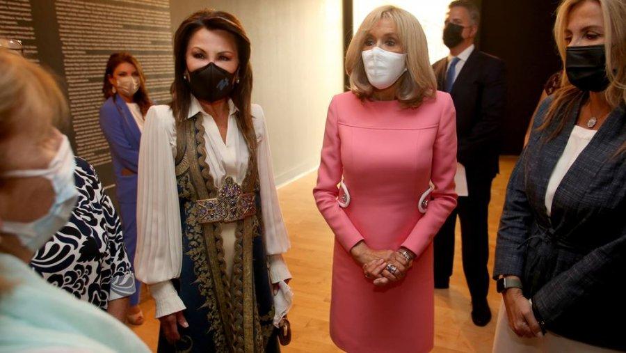 Γιάννα Αγγελοπούλου, Μπριζίτ Μακρόν και Μαρέβα Γκραμπόφσκι στο Μουσείο Ακρόπολις