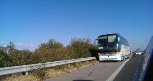 Автобус с 31 деца се подпали на Тракия