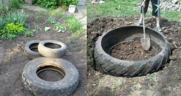 Първо изкопа дупките а после дотъркаля стари гуми
