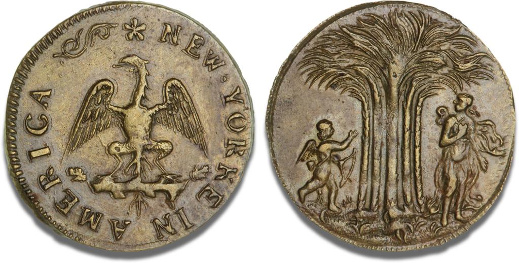 Tidlig amerikansk token fra New York, ca. 1668-1673. Vurdering: 70.000 kr. Hammerslag: 660.000 kr. Foto: Bruun Rasmussen Auktioner.
