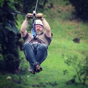 John zip-lining over the Santa Elena Cloud Forest
