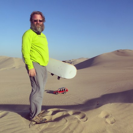 Sand boarding in the Ica Desert