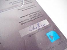 Endkontrolle mit original Unterschrift des Mitarbeiters! Cool!