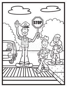 Coloring Book Illustration Of Crossing Guard And Kids