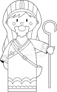 Colour IN Nativity Shepherd With Crook stock vectors