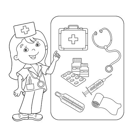 Coloring Page Outline of Cartoon Doctor With First Aid