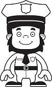 Cartoon Police Officer Speed Limit Traffic Sign stock