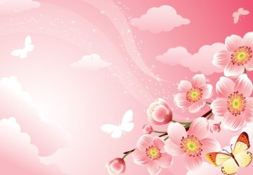 Pink Floral Background With Cherry Blossoms Free vector free download