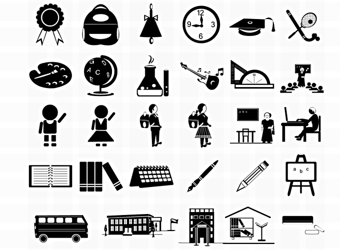 Free 31 Free Vector Photoshop School Icons PSD files