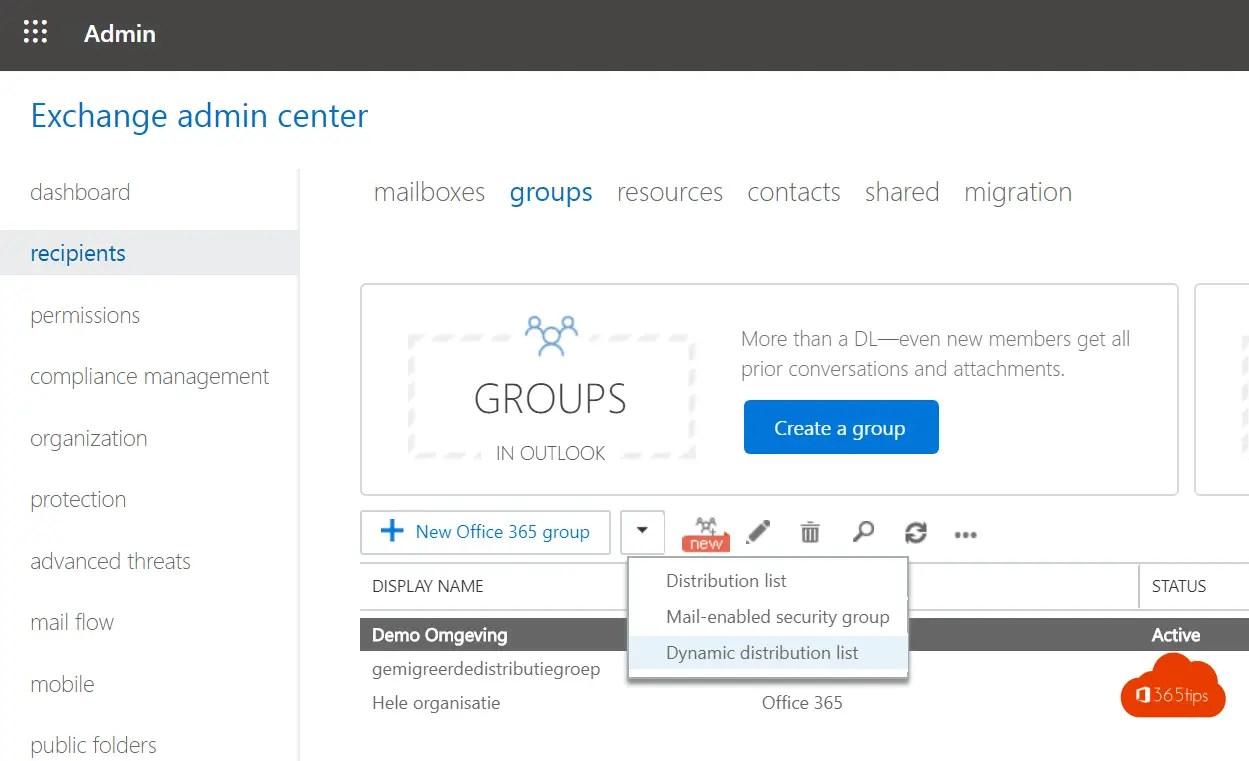 Hoe maak je dynamische distributiegroepen in Exchange Online