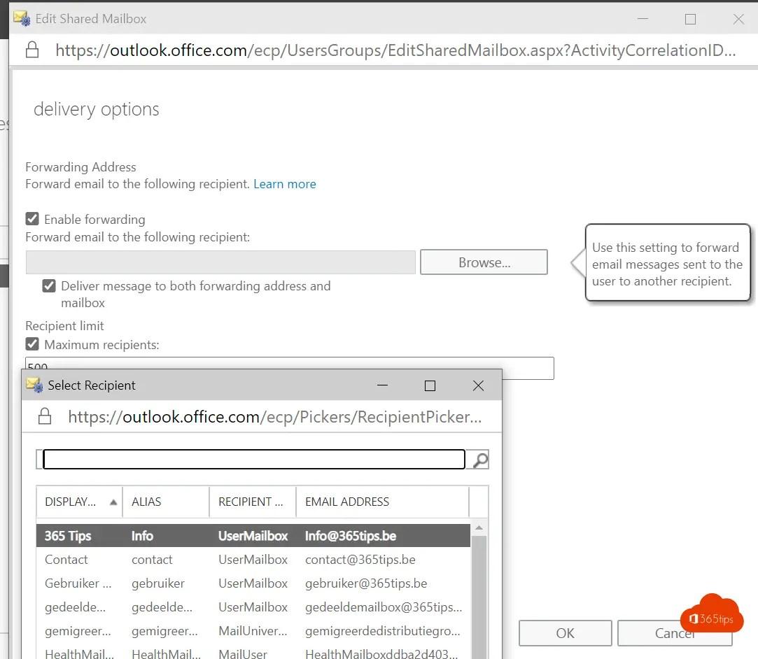 forwarding instellen in Office 365 | E-mails doorsturen