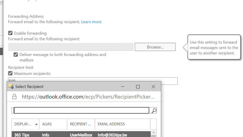 forwarding instellen in Office 365 | E-mails doorsturen