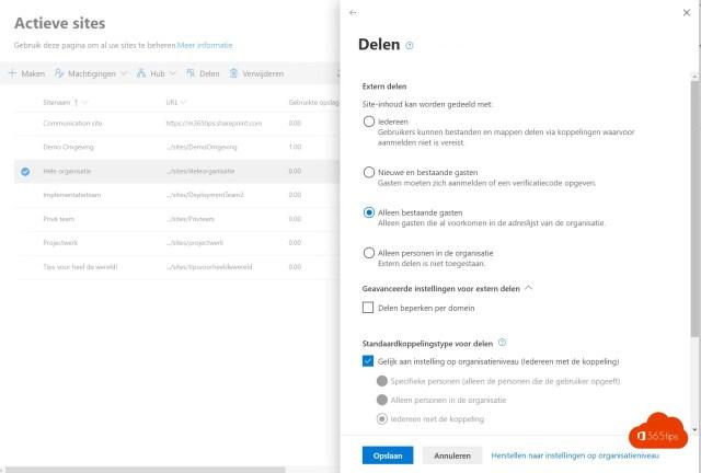 Microsoft Teams governance Actieve Sites