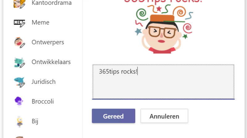 Emoji's GIF's of stickers in Microsoft Teams!