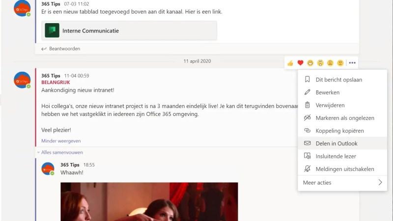 Een Teams chat conversatie versturen naar niet-teams gebruikers?