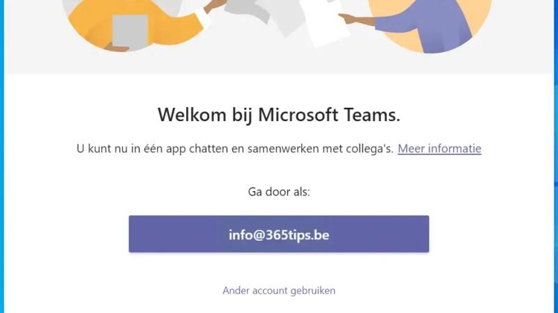 In Microsoft Teams inloggen
