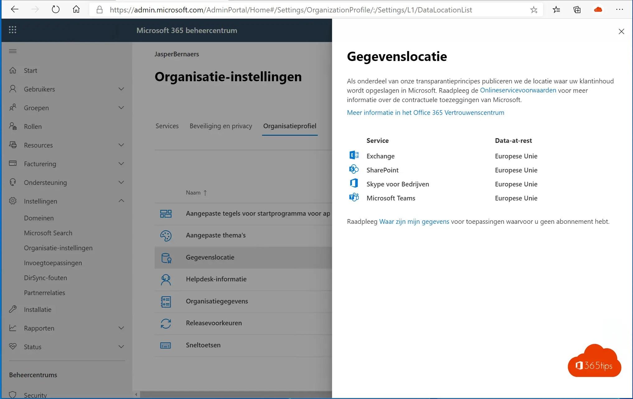 gegevenslocatie van mijn Office 365 omgeving