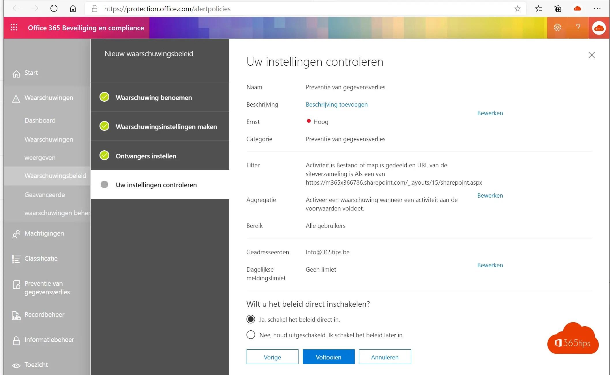 Office 365 waarschuwingsbeleid instellen