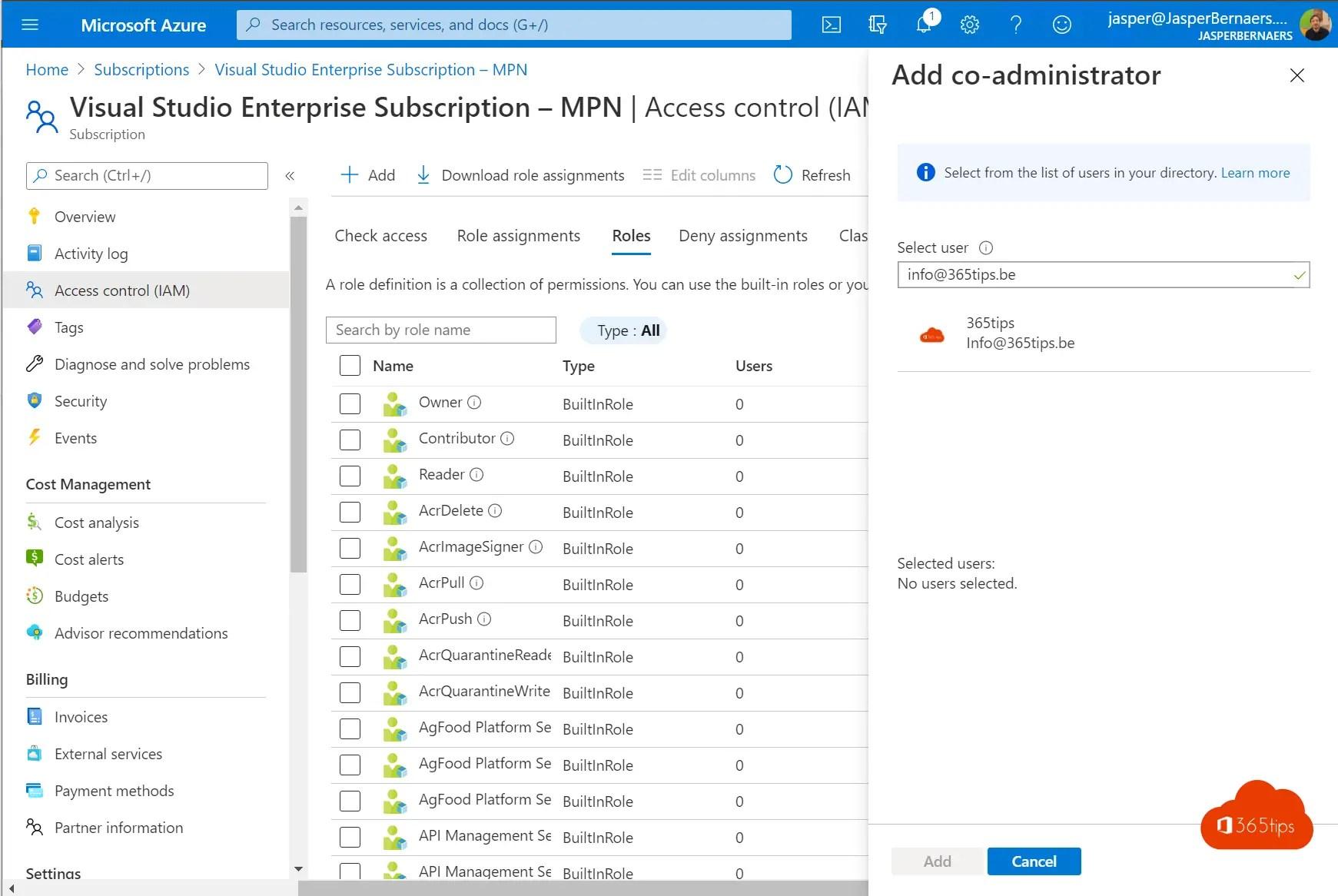 Subscriptie eigenaar overdragen of aanpassen in Microsoft Azure
