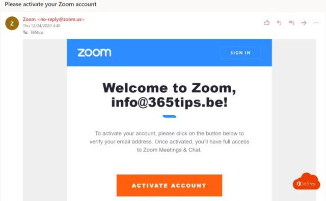 Activate account Zoom