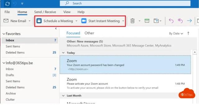 Meeting inplannen via Outlook Zoom