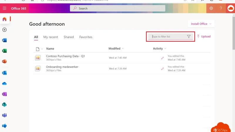 Sneller zoeken door Office.com via filters