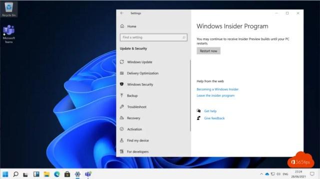 Windows Insider Program Restart Now