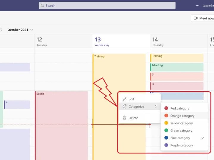 Kleurencodes in Microsoft Teams agenda – categorieën