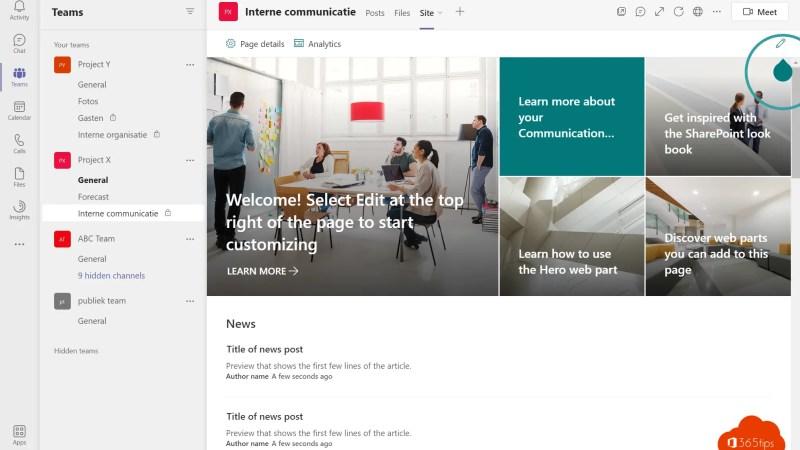 Een SharePointsite integreren in Microsoft Teams tab als startpagina
