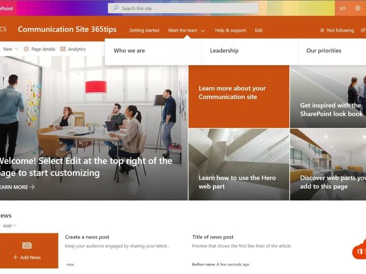 Standaard templates toepassen op SharePoint Online – Template chooser