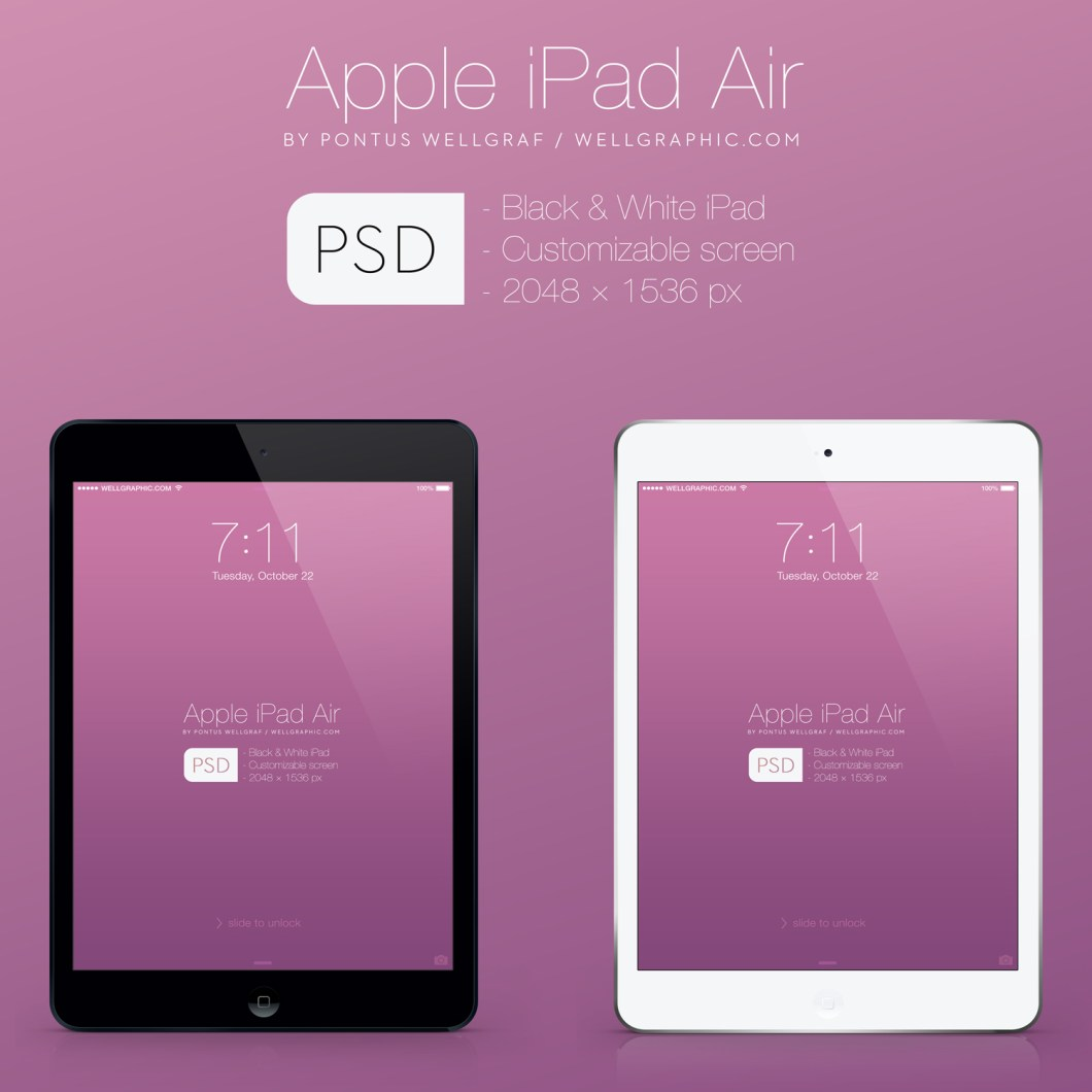 Apple iPad Air in layered Mockup PSD file