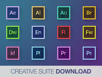 Creative Suite long shadow icons