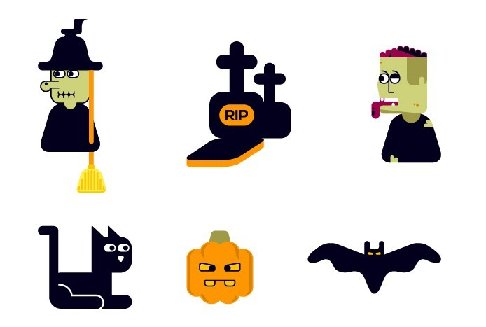 Cute Happy Halloween Icon Set Vector