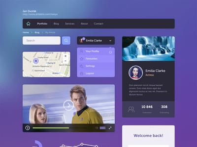 Flat UI Kit Purple and Dark