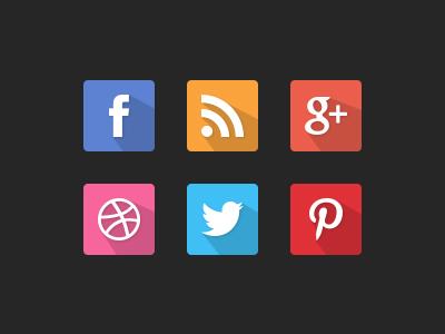 Free Flat Longshadow Social Media Icons