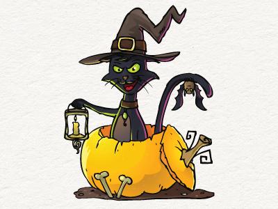 Halloween Cat Illustration Free Download