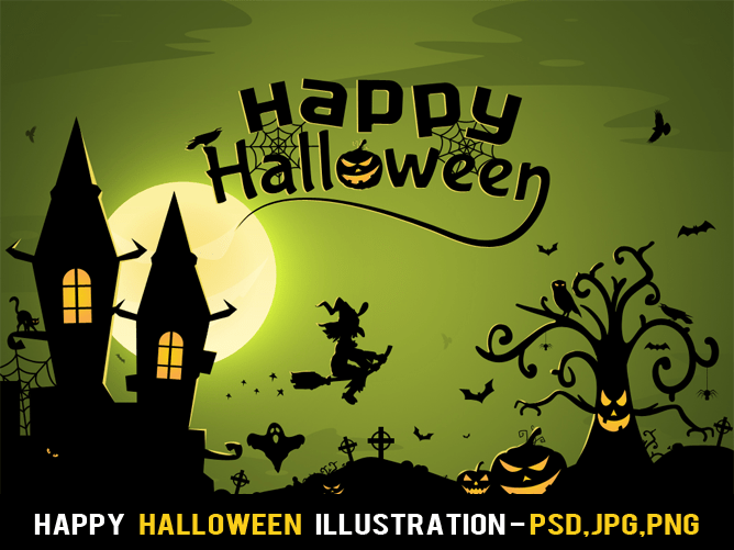 Happy Halloween Illustration Free PSD