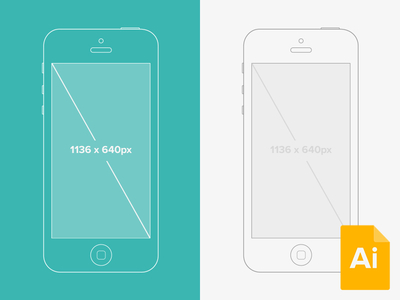 Illustrator iPhone 5 Wireframe Mockup