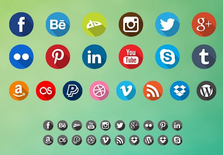 Long Shadow Social Icons Pack